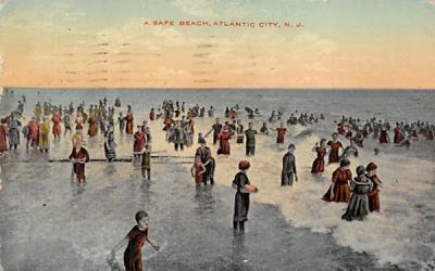 A Safe Beach Atlantic City, New Jersey Postcard