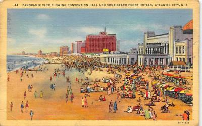 Convention Hall and Some Beach Front Hotels Atlantic City, New Jersey Postcard