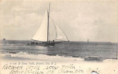 A Sloop Yacht Atlantic City, New Jersey Postcard