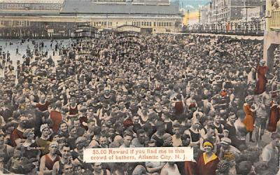 $5.00 Reward if you find me in this crowd of bathers Atlantic City, New Jersey Postcard