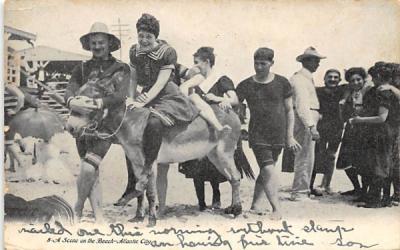 A Scene on the Beach Atlantic City, New Jersey Postcard