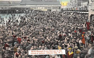 $5.00 Reward if you find me in this crowd Atlantic City, New Jersey Postcard