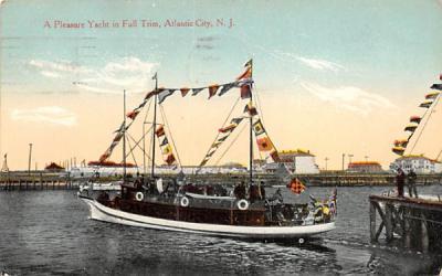 A Pleasure Yacht in Full Trim Atlantic City, New Jersey Postcard