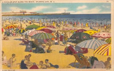 A Popular Spot Along the Beach Atlantic City, New Jersey Postcard