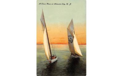 A Close Race at Atlantic City, N. J., USA New Jersey Postcard