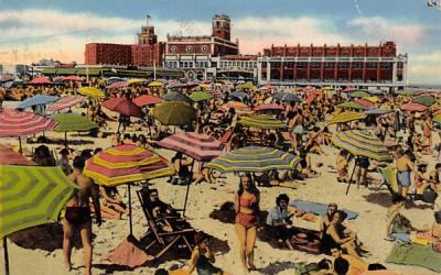 4th Ave., Beach Scene, Showing Convention Hall Asbury Park, New Jersey Postcard