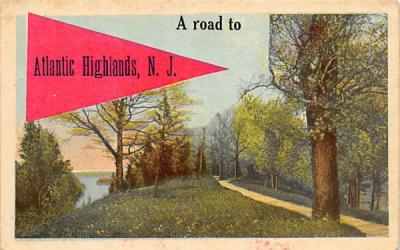 A road to Atlantic Highlands, N. J., USA New Jersey Postcard