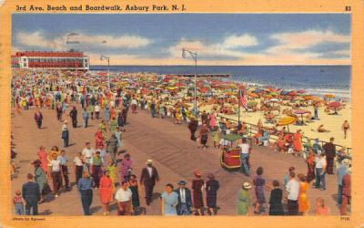 3rd Ave. Beach and Boardwalk Asbury Park, New Jersey Postcard