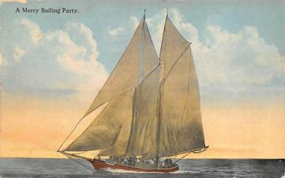 A Merry Sailing Party, Postmarked Atlantic City New Jersey Postcard