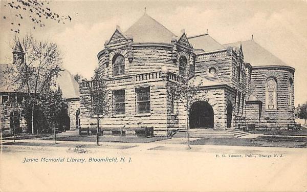 Jarvie Memorial Library Bloomfield, New Jersey Postcard