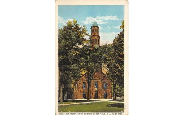 The First Presbyterian Church Bloomfield, New Jersey Postcard