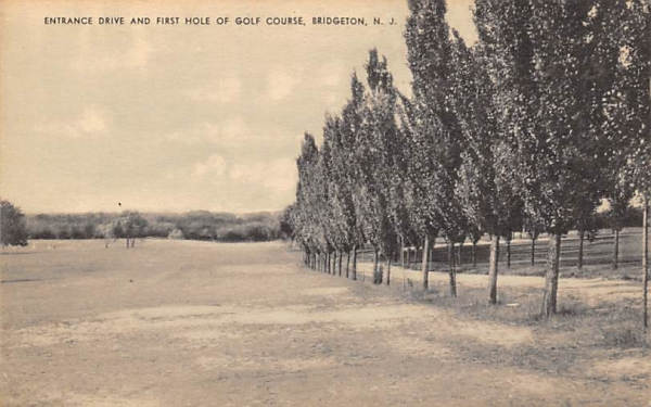 Entrance Drive and First Hole of Golf Course Bridgeton, New Jersey Postcard
