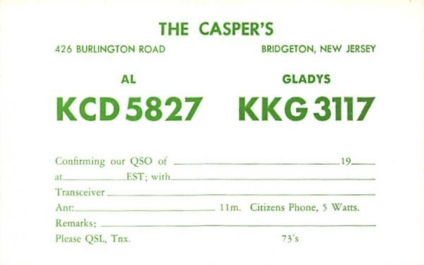 The Casper's  Bridgeton, New Jersey Postcard