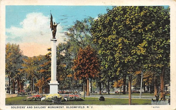 Soliders' and Sailors' Monument Bloomfield, New Jersey Postcard