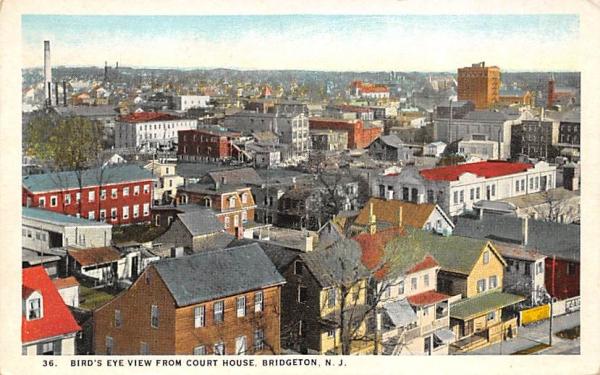 Bird's Eye View form Court House  Bridgeton, New Jersey Postcard