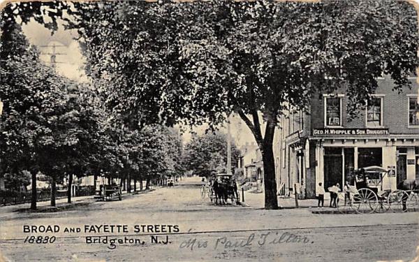 Broad and Fayette Streets Bridgeton, New Jersey Postcard
