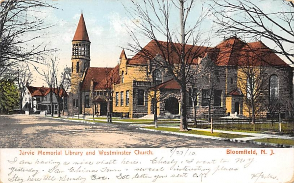 Jarvie Memorial Library and Westminster Church Bloomfield, New Jersey Postcard