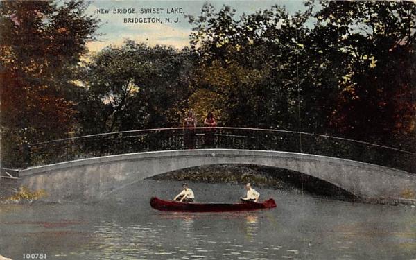 New Bridge, Sunset Lake Bridgeton, New Jersey Postcard