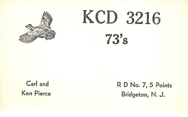 KCD 3216 Bridgeton, New Jersey Postcard