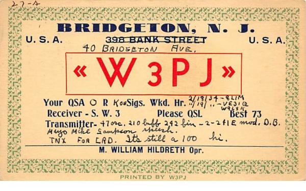 W3PJ Bridgeton, New Jersey Postcard
