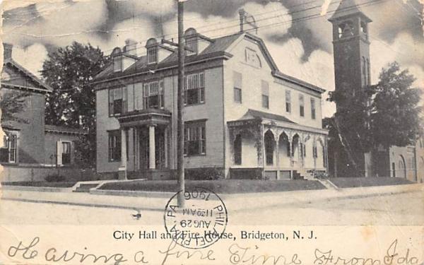 City Hall and Fire House Bridgeton, New Jersey Postcard