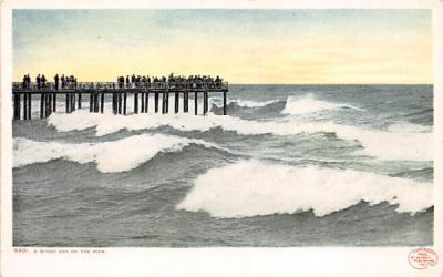 A Windy Day on the Pier Beach Scene, New Jersey Postcard