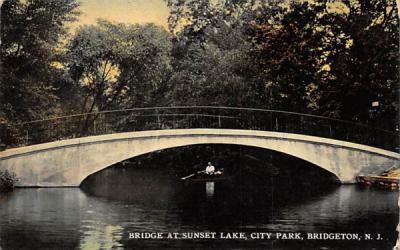 Bridge at Sunset Lake, City Park Bridgeton, New Jersey Postcard