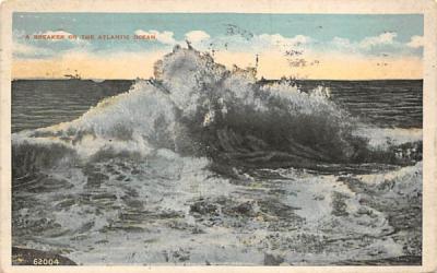 A Breaker on the Atlantic Ocean Beach Scene, New Jersey Postcard