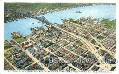 Delaware River  - Camden, New Jersey NJ Postcard