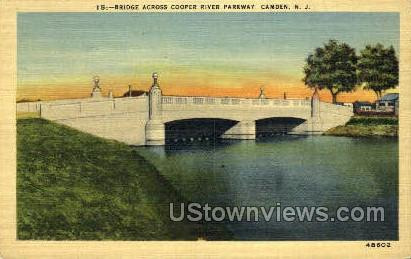 Bridge Across Cooper River  - Camden, New Jersey NJ Postcard
