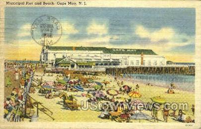 Municipal Pier  - Cape May, New Jersey NJ Postcard