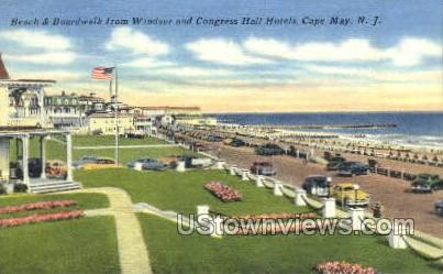 Beach And Boardwalk - Cape May, New Jersey NJ Postcard