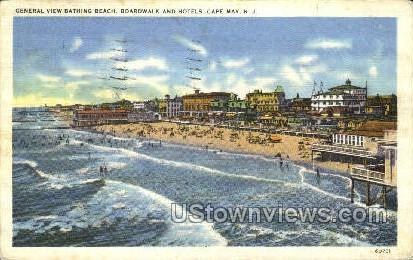 General View Of Bathing Beach  - Cape May, New Jersey NJ Postcard
