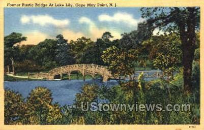 Former Bridge At Lake Lily  - Cape May, New Jersey NJ Postcard