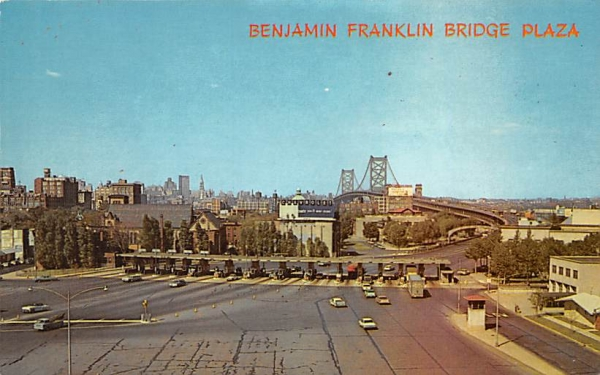 Benjamin Franklin Bridge Plaza Camden, New Jersey Postcard