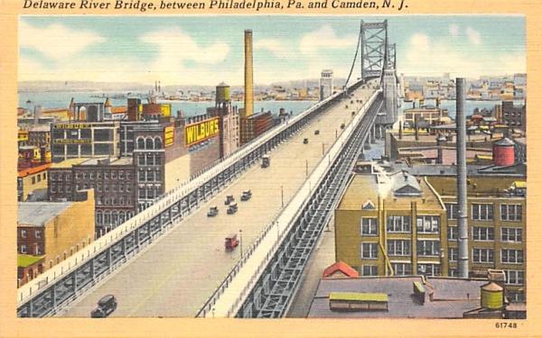 Delaware River Bridge,  Camden, New Jersey Postcard