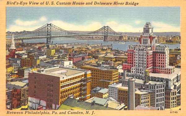 U. S. Custom House, Delaware River Bridge Camden, New Jersey Postcard