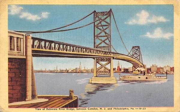 View of Delaware River Bridge Camden, New Jersey Postcard