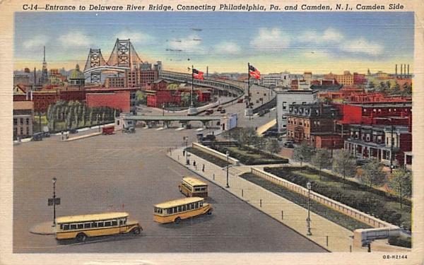 Entrance to Delaware River Bridge Camden, New Jersey Postcard
