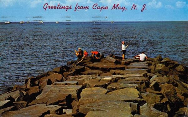 Jetty Fishing Cape May, New Jersey Postcard