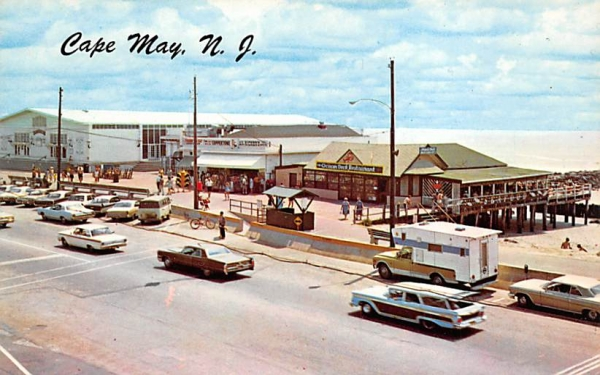 Beach, Boardwalk and Convention Hall Cape May, New Jersey Postcard