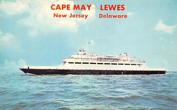 Lewes, Del. Ferry Cape May, New Jersey Postcard