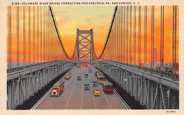 Delaware River Bridge Camden, New Jersey Postcard