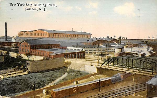 New York Ship Building Plant Camden, New Jersey Postcard