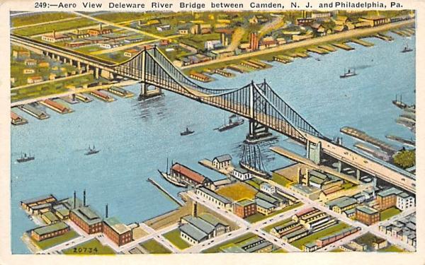 Deleware River Bridge Camden, New Jersey Postcard