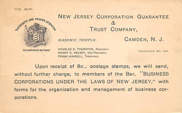 NJ Corporation Guarantee & Trust Company Camden, New Jersey Postcard
