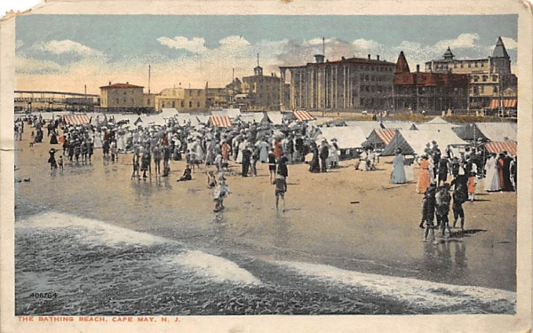 The Bathing Beach Cape May, New Jersey Postcard