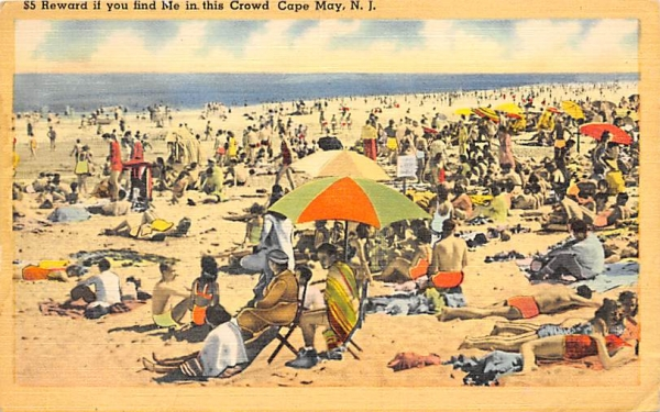 $5 Reward if you find Me in the Crowd Cape May, New Jersey Postcard