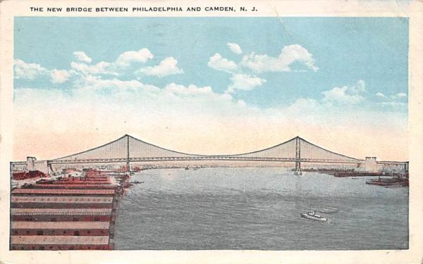 New Bridge between Camden, New Jersey Postcard