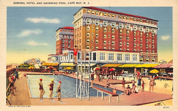 Admiral Hotel and Swimming Pool Cape May, New Jersey Postcard